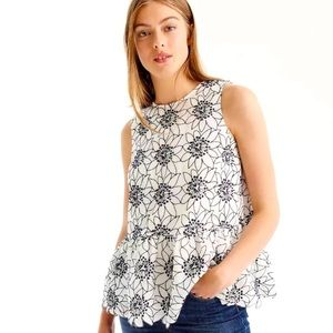 J CREW Sleeveless Floral Embroidered Top